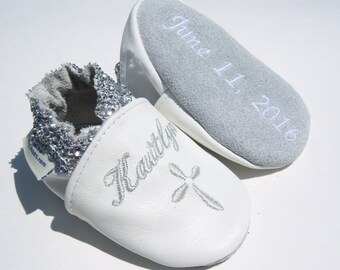 Baptism shoes white leather  , personalised christening leather booties,moxies shoes ,chrisening shoes- christened keepsake , babtism