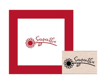 Sunflower Personalized Rubber Stamp