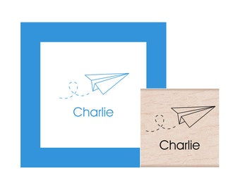Paper Airplane Personalized Rubber Stamp