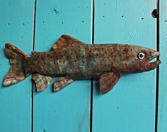 Trout - copper fish sculpture  - with blue green and naturally-aged patinas - OOAK
