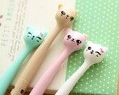 Kawaii Cat Pen - Mint, Tan, Pink or White