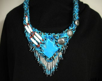 FREE SHIP Blue Fire Pool water blue Southwestern necklace with bone hair pipe buttons, beaded fringe by Bearly Art Designs