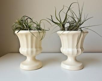 2 White Haeger Vases Pottery Urn Planters