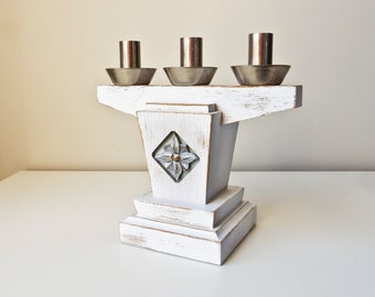 White Wood Candlestick, Distressed 3 Candle Holder,  Handmade Candlestick