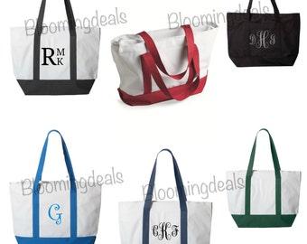 Large Zipper Tote Bag Monogram Custom Embroidery Overnight travel Bag