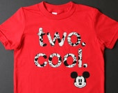 """TWO. COOL. Mickey Mouse Toddler Baby Boy, Girl, """"two cool"""" 2 year old Birthday shirt - Grey Red Disney- Etsy kid's fashion, clothes 2nd"""