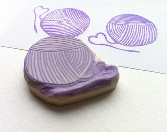 Ball of yarn hand carved rubber stamp, handmade rubber stamp, yarn stamp
