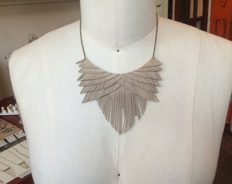 Taupe Suede Fringe Necklace