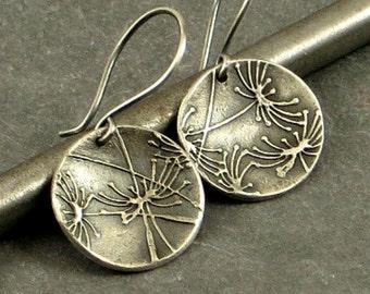 Dandelion Earrings, Fine Silver Earrings, Disc Earrings, , Floral Jewelry Gifts for Her