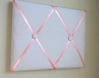 "11""x14"" Memory Board Bow Holder Ribbon Board Grey & Coral Peach"