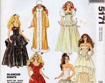 "Sewing Pattern for 11.5"" Fashion Doll like Barbie 1980's Glamour Styles Evening Dresses, Hat and Gloves"