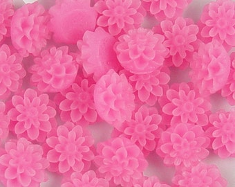 CLEARANCE Cabochon Flower 8 Frosted Resin Dahlia Flower Fuchsia Pink Round 15mm (1011cab15m11-2)os