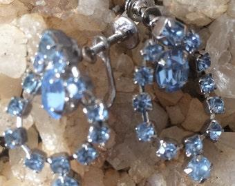 Vintage Pale blue rhinestone dangle earrings