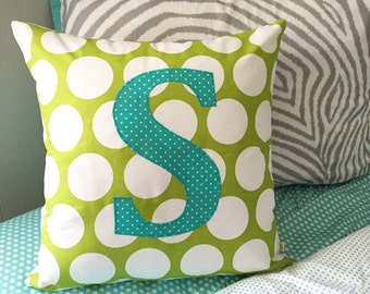 "Monogrammed Pillow Cover - Choose Your Letter Pillow Cover - Appliquéd Letter Pillow Cover - 18"" Pillow Cover - Pick Your Colors"