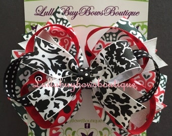 Large Layered Red, Black, and White Bow