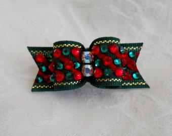 """DOG BOW-  5/8"""" Christmas Crystal Dog Hair Bow"""