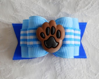 "Dog Bows- 7/8""Power of the Paw Lt Blue Plaid Dog Bow"