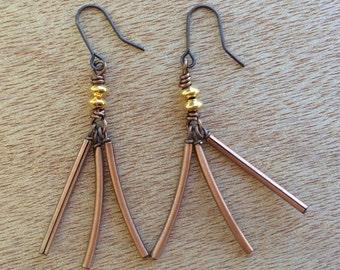 E492 Copper and Gold Dangle Earrings