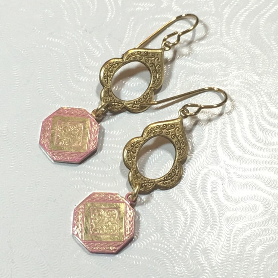 Pink and gold solid brass dangle earrings