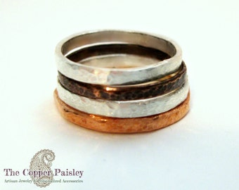 Stacking Rings Copper & Silver - Four Stacked Mixed Metal Rings 2mm - made to order