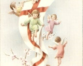 Vintage Little Angels flying around banner with cross Lovely vintage Italian postcard, antique postcard