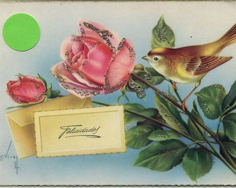 Bird postcard with roses, Spanish Greetings post card, artist signed, glitter vintage postcard, SharonFosterVintage