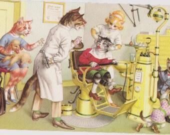 Mainzer cats  postcard Kitten visits the dentist, Mainzer dressed cats,  Postcard no. 4990 vintage postcard, SharonFosterVintage