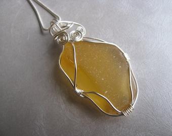 Sea Glass Pendant  - Rare Honey Yellow - Wire Wrapped Beach Glass Pendant