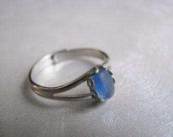 Beach Glass Jewelry - Sea Glass Ring - Beach Glass Ring - Sea Glass Jewelry - Cornflower Blue