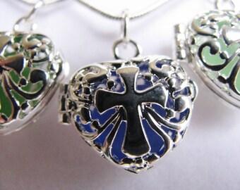 Sea Glass Cross Locket Pendant - Sea Glass Jewelry - Blue, Green and Seafoam Sea Glass - Ocean Jewelry Gift- Spiritual Gift - Religious Gift
