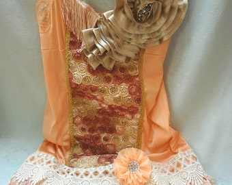 BIG Fall Sale 35% Off FLAPPER 1920s Gatsby Downton Abbey Roaring 20s SpeaKeasy Fringe - Burnt Orange, Soft Gold and Ivory