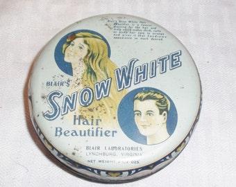 1930s Vintage Blair's Snow White Hair Beautifier Tin Still Full