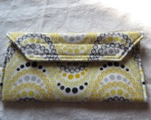 Eyeglass Case in Yellow, Gray,and Black Flowers and Circles in Waves Eyeglass holder
