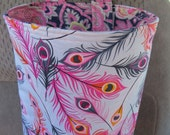Car Trash Bag Reusable in Feathers on Light Gray, Car Accessory, Litter Bag, Trash Bag, Organizer, Cute Feathers on Gray