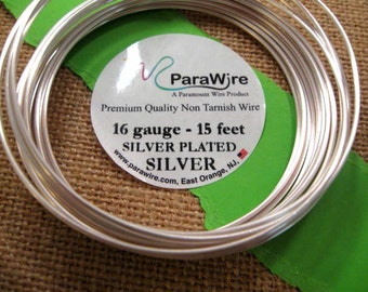 Silver Plated Silver Non Tarnish 16 Gauge Wire from ParaWire - 15 Foot Spool