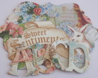 """SWEET SENTIMENTS Chipboard Letters, Alphabet Die Cuts, Graphic 45, Easter Scrapbook Diecuts ... 1.5"""" Tall"""