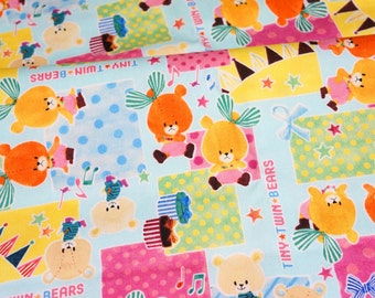 Cartoon character Lulu and Lolo Little twin bears print Half Meter 50 cm by 106 cm or 19.6 by 42 inches (HAKO15A)