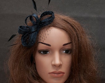 Navy blue small fascianator with navy netting and navy or black coque feathers_