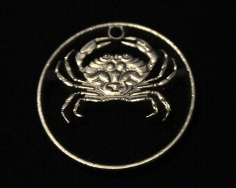 ICELAND - cut coin pendant -  Crab - 1992