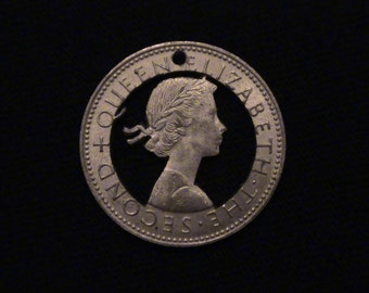 New Zealand  - cut coin pendant - Young Queen Elizabeth II - 1962