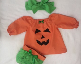 Baby Girl Pumpkin 3 Piece Set Costume Halloween Outfit