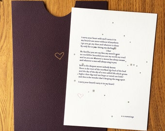 e.e. cummings  I CARRY YOUR HEART letterpress love poem for valentines day or anniversary card with stars