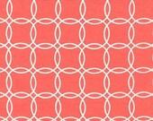 Two (2) Yards- Metro Living Interlocking Circles Robert Kaufman Fabrics 15081-143 Coral