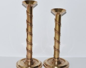 Vintage Tall Brass Candlestick Holders, Pair