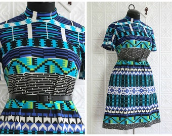 Short Sleeve Shift Dress with High Neckline & Trippy Geometric Print