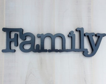 wood family sign wall hanging or shelf sitter home decor
