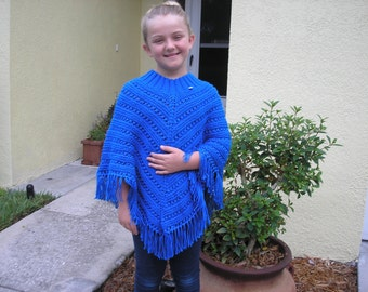 Knitted Poncho, Girls Large - Royal Blue