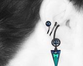 Mimas III v5: Bold Bermuda Blue Swarovski crystal steampunk right ear cuff, No piercing required