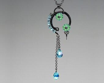 Aura v3: Long and Elegant Steampunk Pendant with Lovely Aqua Bohemica Preciosa Crystals