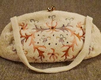 STUNNING WEDDING BAG Beaded Embroidered Belgium  seed beads tambour  stich Art Deco app 10x5x4